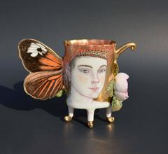 Helicomus Butterfly Cup, Porcelain Ceramic Cup with Painted Illustration & Gold
