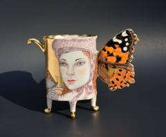 Painted Lady Butterfly Cup, Hand Sculpted Porcelain Ceramic with Gold Luster