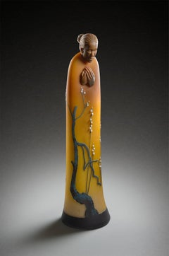 """Reimei"", Contemporary, Blown, Glass, Figurative, Sculpture, Carved, Sculpted"
