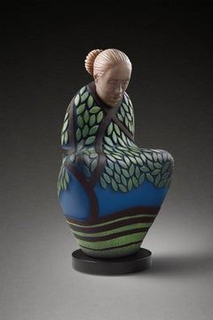 """Seated Beneath the Trees"", Blown and Hot Sculpted Glass with Carved Detail"