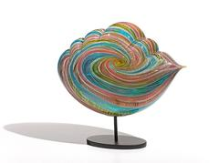 St. Lucia Cloud by Nancy Callan, Blown Glass Sculpture with Metal Stand
