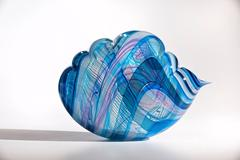 South Seas Cloud by Nancy Callan, Translucent Blown Glass Sculpture in Blue