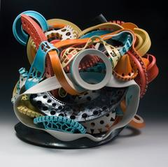 Untitled #3 by Ryan LaBar, Large Abstract Sculpture with Colorful Glazing