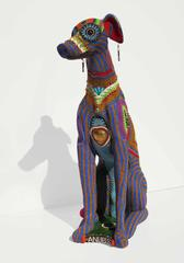 Anubis by Jan Huling, Brightly Colored Beaded Sculpture with Intricate Pattern