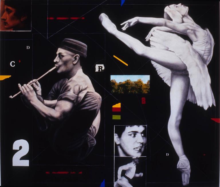 """Joseph Piccillo Figurative Art - """"Composition #7"""", Large Figurative Graphite Drawing on Canvas with Collage"""