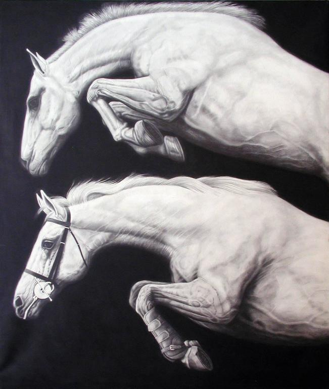 """Two Leaping Horses"", Large Graphite Drawing on Canvas"