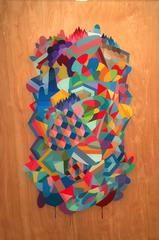 Abstract Geometric Painting on Wood Panel with Resin Coating