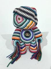 Bear with Chains by Jan Huling, Beaded Toy Sculpture