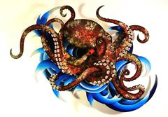 Pulpo Rojo Solitario , Lone Red Octopus.  Airbrushed Wooden Sculpture