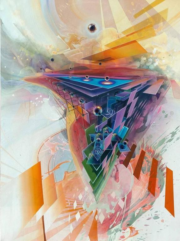 Jake Amason - Eclipse, Large Abstract Geometric Acrylic Painting on Canvas 1