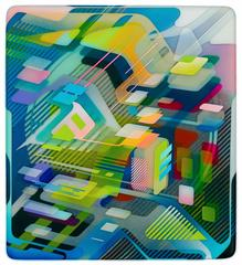 Present Extreme , Multi Layered Painting with Geometric Pattern and Resin