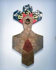 FIre Totem by Benjamin Lowder, Reclaimed Barn Wood and Vintage Metal Signage