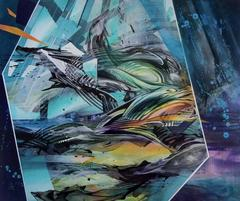 Breach by Zach Jackson, Dark Futuristic Abstract Acrylic Painting on Wood