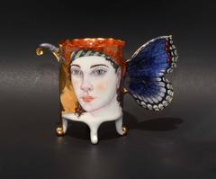 Red Spotted Purple Butterfly Cup , Hand Sculpted Porcelain with Illustration