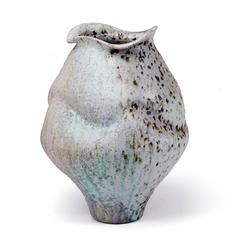 Medium Porcleian Jar with Shino Glaze and Iron Inclusions, Wood Fired
