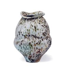 Small Wood Fired Porcelain Jar with Shino Glaze and Iron Inclusions