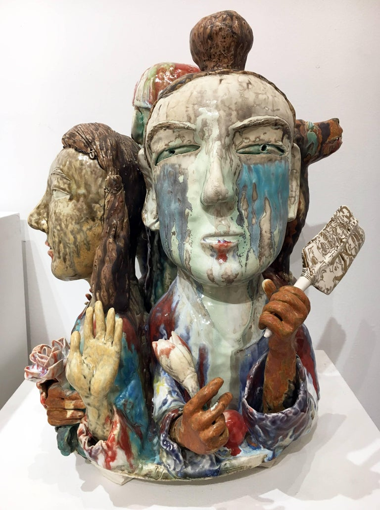 """SunKoo Yuh Figurative Sculpture - """"Another Connection"""", Abstract Figurative Ceramic Sculpture with Colorful Glaze"""