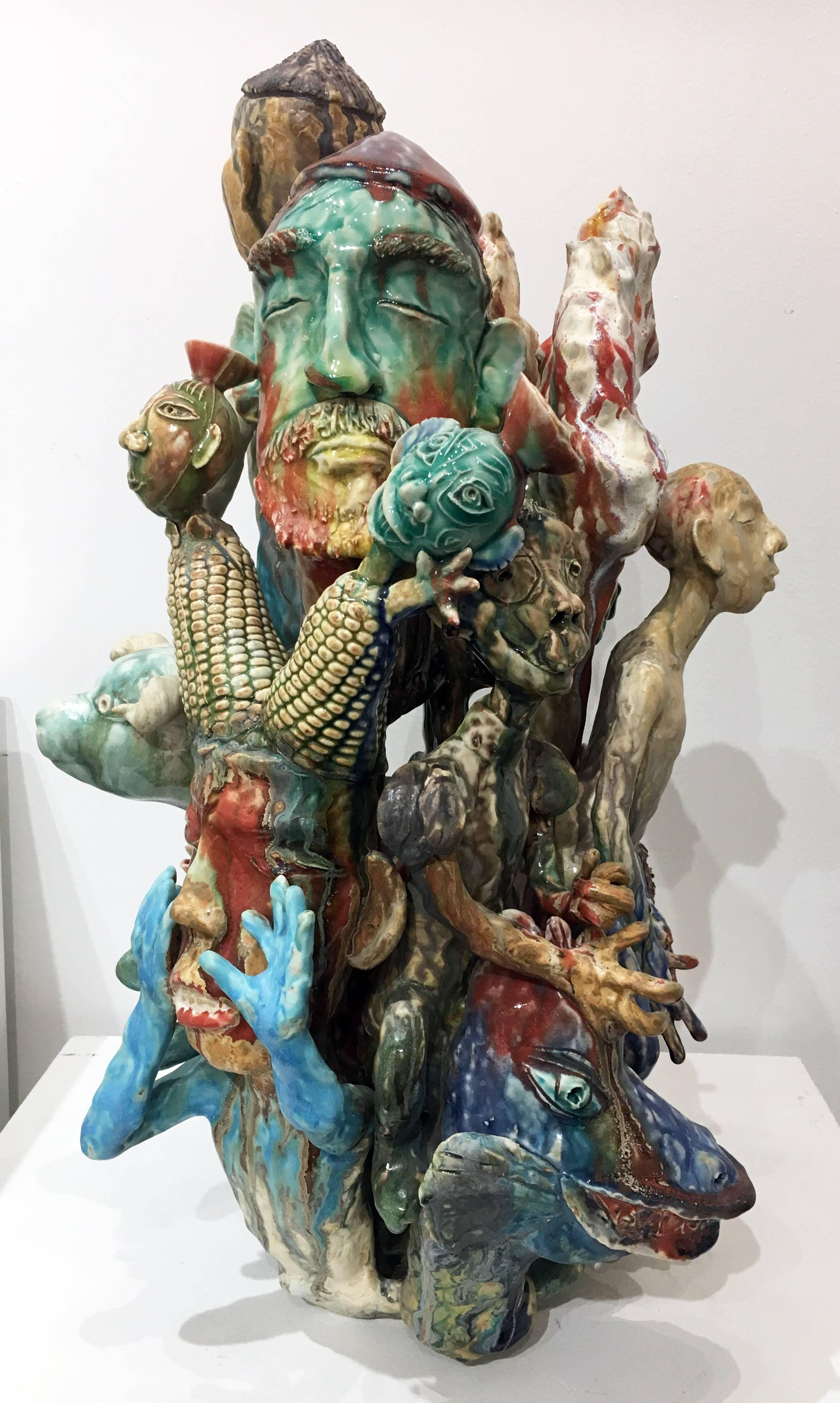 """""""New Year's Greeting"""", Contemporary Figurative Ceramic Sculpture with Glazes"""