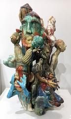"""New Year's Greeting"", Contemporary Figurative Ceramic Sculpture with Glazes"