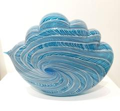 """Azure Filigree Cloud"" , Blown Glass Sculpture Done in Venetian Style"