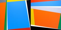 Untitled Composition #30 , Colorful Abstract Geometric Acrylic Painting Diptych
