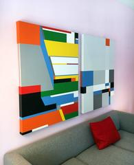 Untitled Composition #15 (Left) , Acrylic and Oil Abstract Geometric Painting