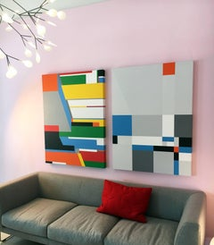Untitled Composition #33 (Right), Abstract Geometric Acrylic and Oil Painting