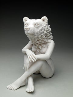 """New Symbiosis: Brown Bear with New Growth"", Hand Sculpted Porcelain Figure"