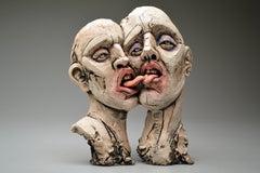 """Bald"", Surrealistic Stoneware Sculpture with Glaze and Underglaze"