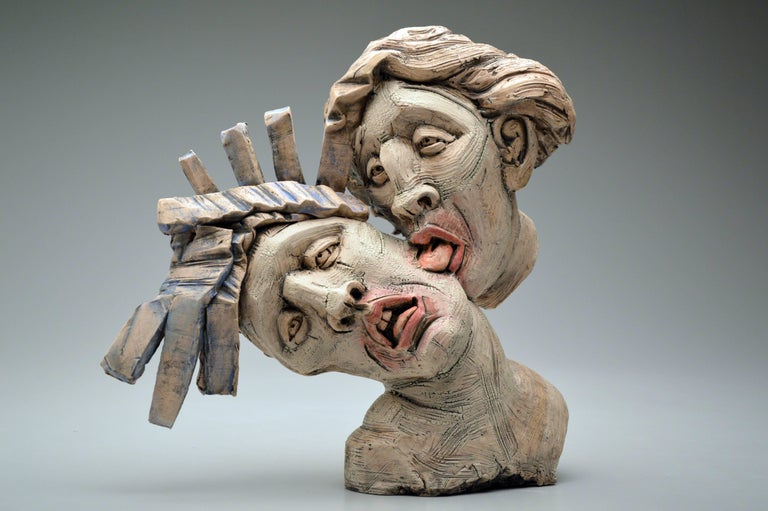 """Blue Hair"" , Stoneware Sculpture with Glaze and Underglaze"