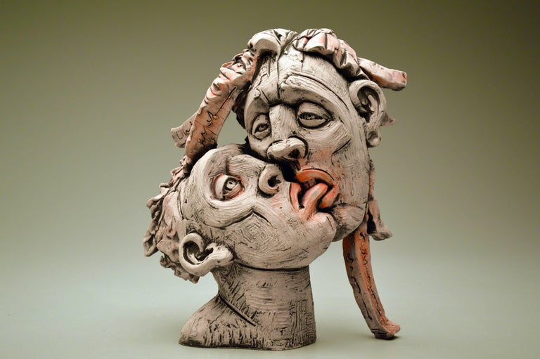 """Nibbler"", Surrealistic Stoneware Sculpture with Glaze and Underglaze"