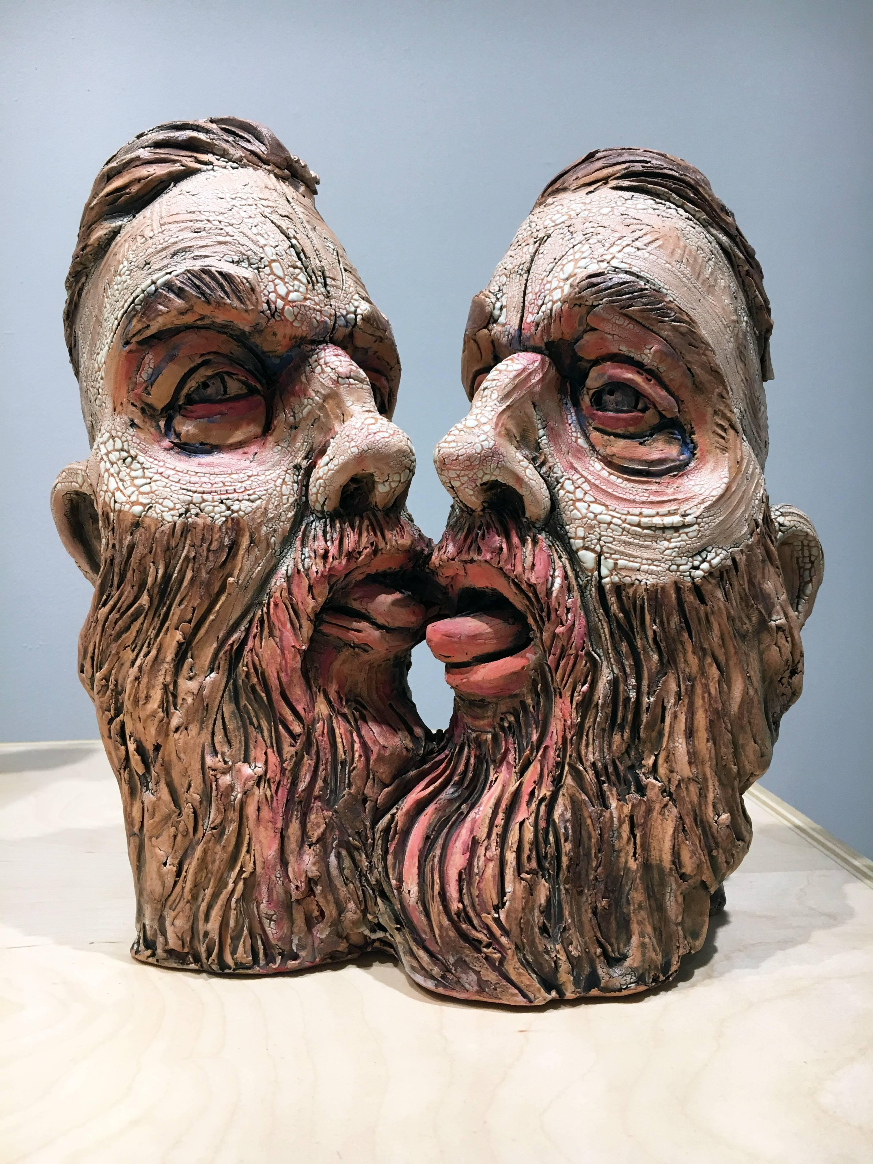 """Selfie"" , Surrealistic Stoneware Sculpture with Glaze and Underglaze"