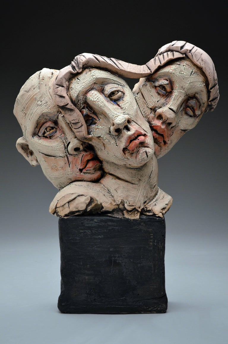 "Chris Riccardo Figurative Sculpture - ""Threesome"", Stoneware Sculpture with Glaze and Underglaze"