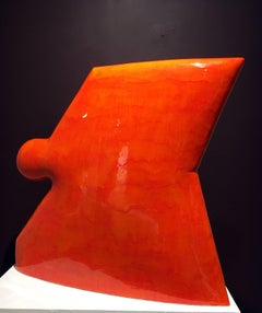 Contemporary Minimalist Ceramic Sculpture with Vibrant Orange Glaze, Abstract