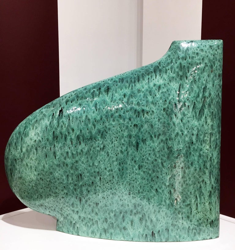 """Green/Black 317"", Minimalist Abstract Sculpture with Vibrant Cascading Glaze"