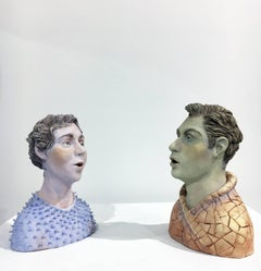 """Conversation: Grouping 1"", Ceramic Figures Painted with Acrylics and Glazing"