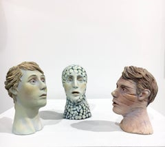 """Conversation: Grouping 2"", Ceramic Figures Colored with Acrylics and Glaze"