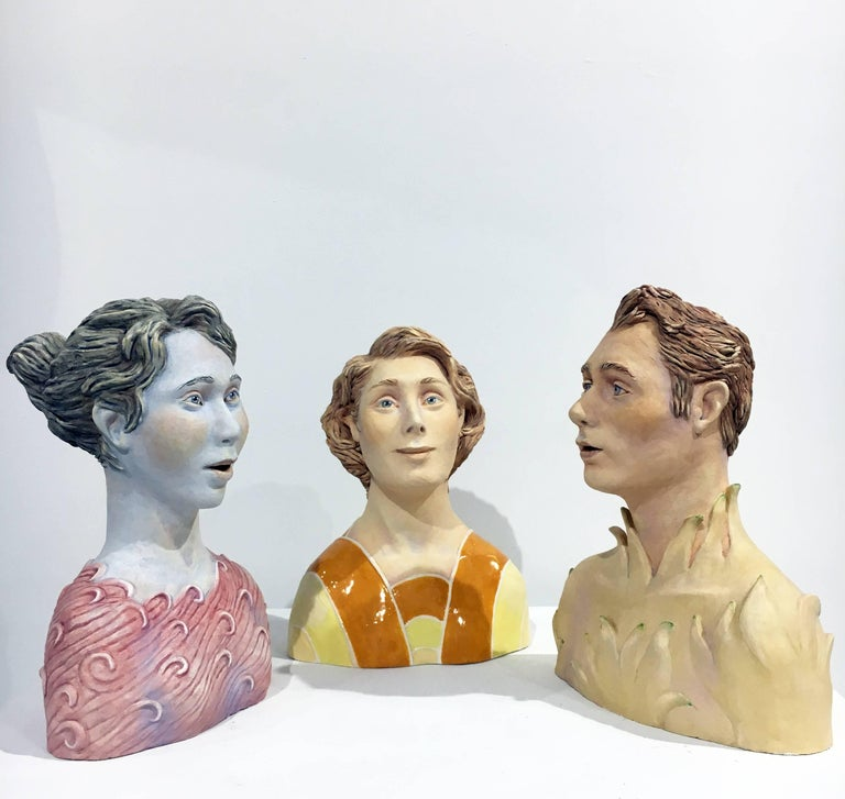 "Beverly Mayeri Figurative Sculpture - ""Conversation: Grouping 3"", Ceramic Figures Painted with Acrylics and Glazing"