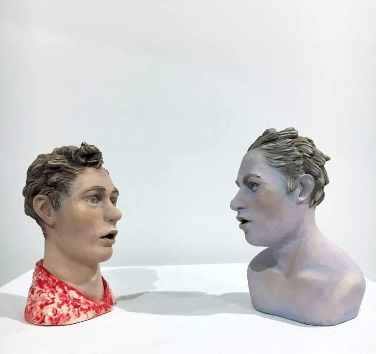 "Beverly Mayeri Figurative Sculpture - ""Conversation: Grouping 4"", Ceramic Figures Painted with Acrylics and Glaze"