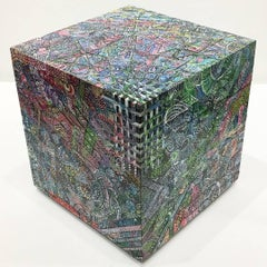 """The Shadow of a Hyperspatial Object"", Six Sided Painting on Wooden Cube"