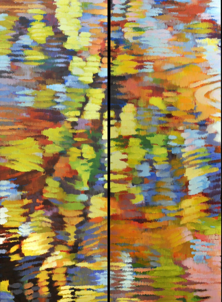 """Echo 1"", Large Colorful Abstract Pair, Impressionist Oil Painting"