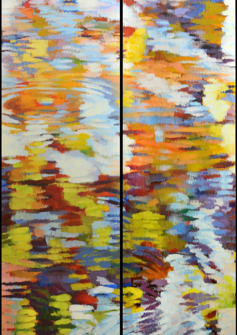 """Echo 2"", Large Canvas Pair, Impressionist Oil Painting"