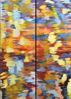 """""""Echo 3"""", Large Canvas Pair, Impressionist Oil Painting"""