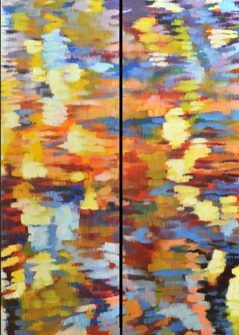 "Jill Hackney Abstract Painting - ""Echo 3"", Large Canvas Pair, Impressionist Oil Painting"