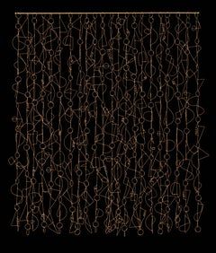 """Sierra Madre Boogie"", Plied Brass Wire Sculpture, Wall Hanging"