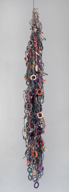 Contemporary Mixed Media Wall Sculpture with Wood, Plastic, Fiber, and Chord