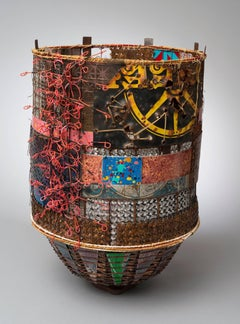 """Babel 2"", Mixed Media Basket with Steel, Copper, Aluminum, and Rebar Ties"