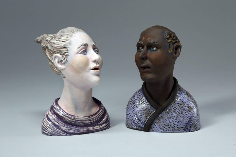 Beverly Mayeri Figurative Sculpture - Conversations II: Grouping II , Ceramic Sculpture with Acrylic Paint and Glaze