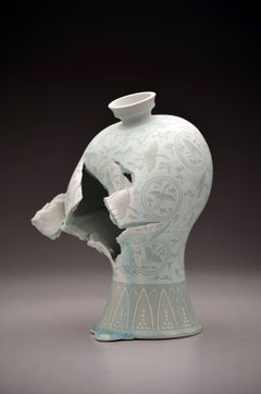 Maebyeong Vase with Crane Medallions, Porcelain Sculpture with Illustration