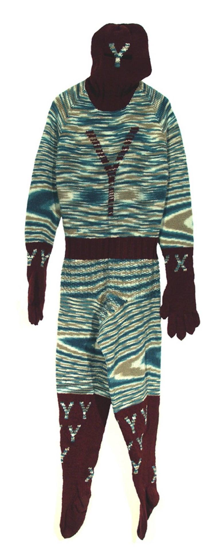 "Mark Newport Abstract Sculpture - ""Y-Man"", Contemporary, Fiber, Fabric, Sculpture, Knit, Hand Made, Pattern, Soft"